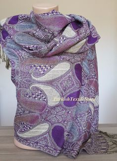 Paisley Purple Pashmina Scarf Ethnic Print Scarf Big Purple Pashmina Scarf Oversized Shawl Wrap Folk Print Scarf Fall Winter Fringe Scarf Get 20% OFF NOW!!! Paste into your browser: http://eepurl.com/crVPMT •This link will take you to my official VIP Turkish Textile Club. By