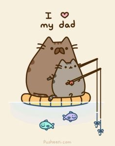 Pusheen love her's dad ! Pusheen the cat Nyan Cat, Gato Pusheen, Pusheen Love, Pusheen Unicorn, Pusheen Stuff, Crazy Cat Lady, Crazy Cats, I Love My Dad, Fat Cats
