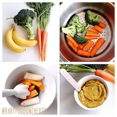 Broccoli carrot & banana puree Ingredients: carrots ripe bananas pieces of broccoli -Plant based fat of your choice All organic Wash and peel the carrots and Steam it with the broccoli for min with the lid on. Blend it with its own wa Baby Carrot Recipes, Baby Puree Recipes, Pureed Food Recipes, Homemade Baby Foods, Baby Food Recipes, Easy Recipes, Baby Food Guide, Baby Food Schedule, Baby Broccoli Recipe