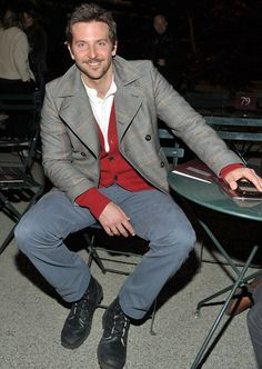 Bradley Cooper - overcoat, chinos, cardigan