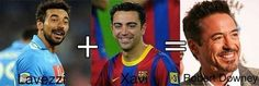 Połączenie dwóch świetnych piłkarzy daje w rezultacie sławnego aktora • Ezequiel Lavezzi + Xavi Hernandez = Robert Downey Jr >>