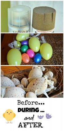 Spray painted faux Easter eggs -