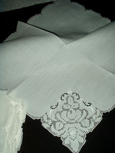 8 Mosaic Embroidery Vintage Linen Dinner Table Napkins
