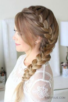 Side French Braid - Hairstyles for Women - Side French Braid Side French Braid Here is a fun back-to-school hairstyle that is not only easy, but super cute. The side french braid is something of an old favorite of mine. Long Braided Hairstyles, Prom Hairstyles For Long Hair, Easy Hairstyles For School, Box Braids Hairstyles, Girl Hairstyles, Hairstyle Ideas, Formal Hairstyles, Hair Ideas, Long Haircuts