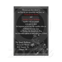Delicate Swirls  This elegant wedding invitation features a grey background covered with a black layer, each are designed with a textured look pattern then accented with a delicate swirling fern and leave design with butterflies fluttering about. All text is fully customized by you. The names can be done in any color you like simply look up the hex code and enter it in the color graph. The back features the same design and is embellished with your monogram and a quote of your choice.