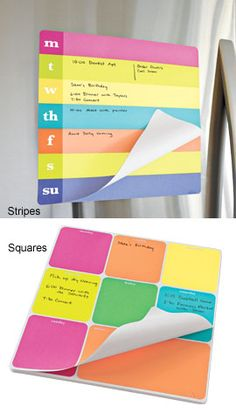 Weekly schedules on a sticky pad! I love sticky notes and I love my planner! This is the best of both things! Could post this on my desk where I could see it and stay on track!