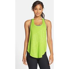 Nike 'Signal' Back Twist Tank (465 ZAR) ❤ liked on Polyvore featuring tops, chartreuse, racerback tank, loose fit tank tops, racer back tank, swim tank and nike tank tops