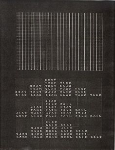 Carl Andre. From Map of Poetry Sculpture Words, 1966