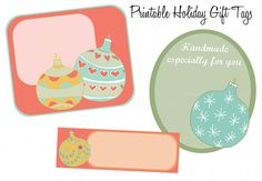 Free printable holiday gift tags featuring Christmas tree ornament designs to label your homemade Christmas gifts once they're wrapped and ready!
