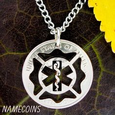 Fireman EMT Maltese cross Star of Life necklace by NameCoins, $49.99