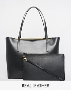 Ted Baker Zip Purse Crosshatch Leather Shopper With Removable Zip Pouch