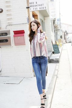 5c809f11944 Buy Slim Blue Cotton Jean at Korean Fashion Store. Find the latest Korean  jeans currently trending in South Korea s fashion scene.