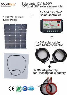 Solarparts 1x60W DIY RV/Boat Kits Solar System 1 x60W flexible solar panel 1x 10A solar controller 1 set 3M MC4 cable 1 set clip