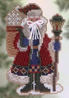 Snow Drift Santa Complete Cross Stitch Kit by Mill Hill by JJsGemsNStuff on Etsy Santa Cross Stitch, Beaded Cross Stitch, Cross Stitch Kits, Cross Stitch Embroidery, Cross Stitch Patterns, Cross Stitch Needles, Christmas Embroidery, Christmas Cross, Embroidery Kits