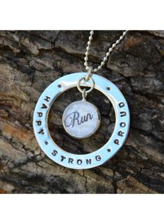 Items similar to Running Jewelry - Run happy. Run strong. Run proud. Running Necklace, Running Charm, Running Pendant, on Etsy Monogram Necklace, Personalized Necklace, Mommy Necklace, Necklace Chain, Running Jewelry, Gifts For Runners, Run Happy, Hand Stamped Jewelry, Runes