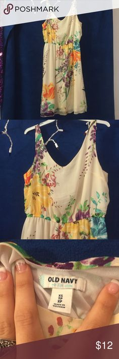 Cream dress with floral details Cream tank dress, floral details, v neck, XS, 100% polyester Old Navy Dresses Maxi