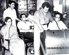 #GeetaDutt, Actor #Premnath and #MadanMohan at the recording of the song Dilko lagaaye yeh gawaraa bhi nahin from the film 'Samundar' (1957) #bollywoodirect #bollywood #music #legends #rarepics