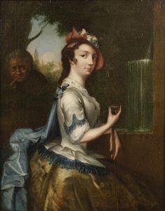 Studio of Henry Robert  Morland (British, circa 1716-1797) The young shepherdess 17 1/2 x 13 3/4in