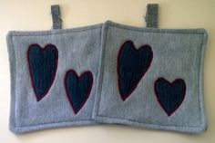 Denim Hearts Upcycled Pot Holders Hot Mat Trivit by debupcycles, $12.00