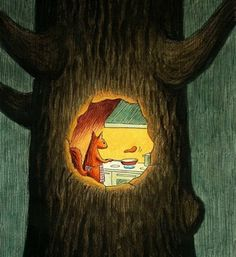 What actually goes on in this hollow tree at night... squirrels making pancakes.