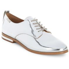 Calvin Klein Camella Metallic Leather Oxfords ($119) ❤ liked on Polyvore featuring shoes, oxfords, silver, real leather shoes, laced up shoes, metallic shoes, oxford lace up shoes and calvin klein shoes