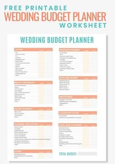 Are you planning a wedding on a budget? then grab this free printable wedding budget planner worksheet to help you stay organized and to keep you from Free Wedding, Wedding Tips, Wedding Events, Wedding Day, Wedding Hacks, Trendy Wedding, Wedding Table, Wedding Punch, Bridal Tips