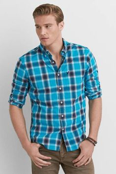 AEO Plaid Button Down Shirt  by AEO | Every closet needs a great plaid shirt. Crafted from our very best fabrics for comfort and durability.  Shop the AEO Plaid Button Down Shirt  and check out more at AE.com.