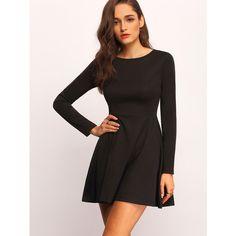 Black Mock Neck Skater Dress ($18) ❤ liked on Polyvore featuring dresses, black, scoop neck dress, long sleeve dress, long sleeve scoop neck dress, circle skirt and scoop neckline dress