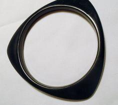 "(1) Black Lucite Bracelet Bangle Vintage Asymmetrical Triangle 2.5"" Opening #Unbranded #BlackBangleBraceletAsymmetricalTriangle"