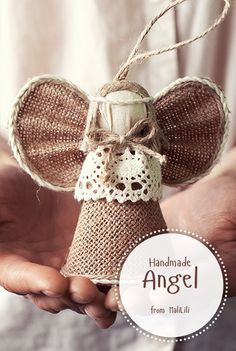 Burlap Fabric Angel Doll, Handmade Birthday Present, Christmas Gift, Wedding Accessories, Ecofriendly Linen Toy, Handmade Home Decor