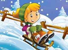 Child sliding down from the top - illustration for the children Christmas Holidays, Christmas Wreaths, Xmas, Winter Fun, Winter Time, Share Pictures, Animated Gifs, Winter Activities For Kids, Christmas Cartoons