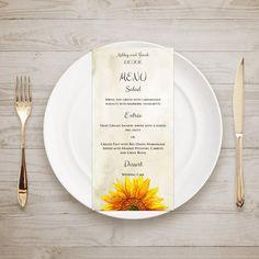 Rustic menu sunflower Country wedding menu by CardsForWedding