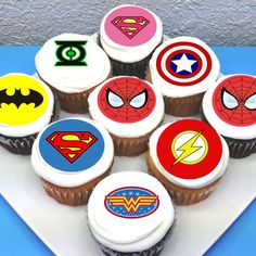 Cupcakes are always a huge hit at parties and these superhero cupcakes are an awesome addition to a dessert table. You can buy these edible toppers and use them to decorate your homemade or store-bought cupcakes! See more party ideas and share yours at CatchMyParty.com #catchmyparty #partyideas #superheroparty #superherocupcakes