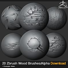 20 Zbrush sculpted wood brushes, Jonas Ronnegard on ArtStation at https://www.artstation.com/artwork/Z0wqx