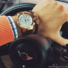 Fan Instagram Pic !   While behind the wheel of his Mini @artsaldana posted a cool photo of his TechnoMarine Cruise Watch nicely paired with our Brown Nappa Leather & Gold Twin Skull Bracelet. Nice combo !   Available now at Northskull.com   For a chance to get featured post a cool photo of your Northskull jewelry with the tag #Northskullfanpic on Instagram