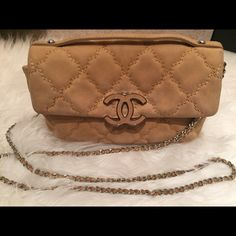 Chanel velvet Hampton flap Gorgeous! Chanel Hampton flap. In delicate velvet leather. Rare color.. Ask more questions on the wear before making an offer or purchasing.. Comes with dust bag, guarantee card, care booklet.. No box! Trades Lowballing CHANEL Bags Shoulder Bags