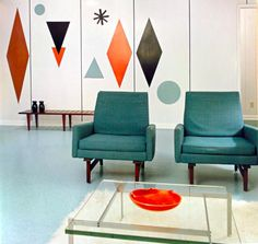 The Colours of Mid Century Modern -  painted shapes on the wall. hmm.