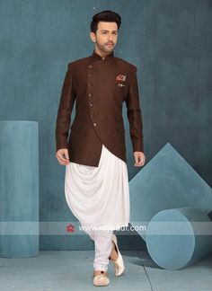 Brown Color Art Silk Indo Western. #rajwadi #Indowestern #trendy #mensfashion #menswear #weddingparty #designeroutfits