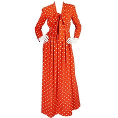 Preowned C1972-76 Norell Tassell Dotted Red Maxi Dress (€790) ❤ liked on Polyvore featuring dresses, day dresses, red, red silk dress, evening maxi dresses, sleeve maxi dress, cocktail dresses and red polka dot dresses