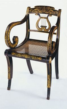 1821 Federal armchair, Deming and Bulkley, NYC, ebonized mple, 33t.