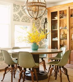 House Crush: A Colorful Shingled Cottage · Savvy Home. The wallpaper and the oversized globe pendant.