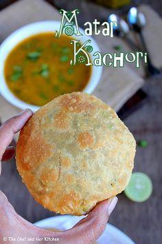 Matar Kachori(Green Peas Kachori) and Alu Sabzi - Delhi style Veg Recipes, Indian Food Recipes, Asian Recipes, Cooking Recipes, Snacks Recipes, Puri Recipes, Pakora Recipes, Paratha Recipes, Paneer Recipes