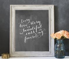 """WHAT A WONDERFUL GIFT FOR THE WEDDING, DECORATE THE FRAME AND MATTE THIS !!!! free-printable:-every-love-story-is-beautiful!"""""""