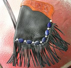 pouch with lapis and pearls