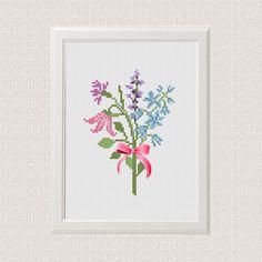 Bouquet of flowers cross stitch pattern modern cross stitch