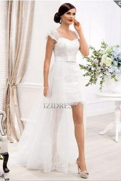 Sheath/Column Sweetheart Strapless Sweep/Brush Train Lace wedding dress - IZIDRESSES.com at IZIDRESSES.com