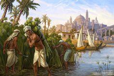 Ancient Egyptian Peasants - Harvesting the reeds by KateMaxpaint Ancient Egypt Art, Ancient History, Fantasy World, Fantasy Art, The Elder Scrolls, Fantasy Setting, Fantasy Landscape, Egyptian Art, Great Artists