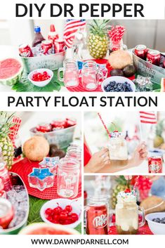 This year I wanted to share an easy and fun DIY Dr. Pepper Float station for your next of July party. Check out how you can recreate this of July inspired Dr. Pepper Float station below! Dr Pepper, 4th Of July Decorations, Blue Party, 4th Of July Party, Memorial Day, Holiday Fun, About Me Blog, Stuffed Peppers, Red Swimsuit