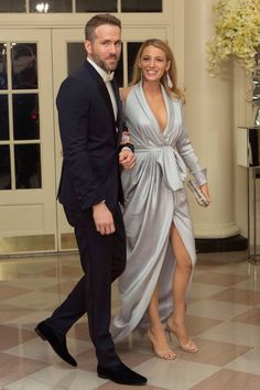 10 March Blake Lively wore a Ralph & Russo gown to attend a state dinner at the White House with husband Ryan Reynolds.   - HarpersBAZAAR.co.uk