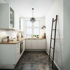 Romantisk minikøkken med masser af skabsplads